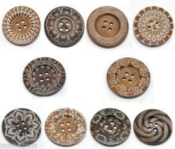 6mm Wood Patterned Buttons